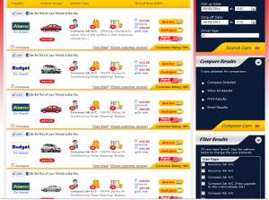 usrentacar results page
